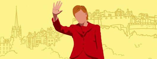 Nicola Sturgeon illustration, with Holyrood behind