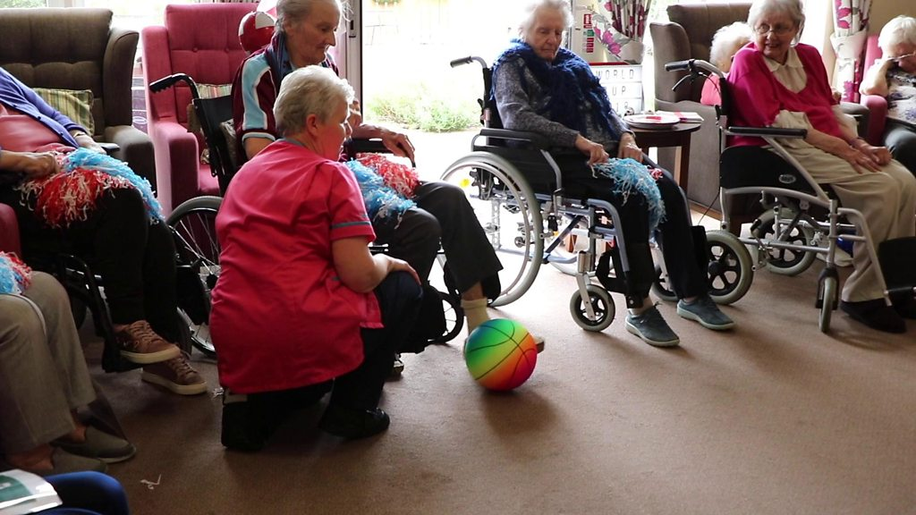 Care home residents show off their football skills