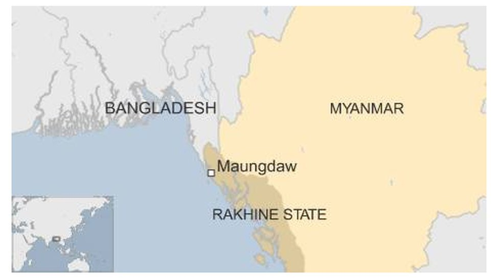 Map of Myanmar showing Maungdaw in western Rakhine state