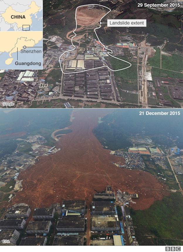 Extent of landslide in Shenzhen