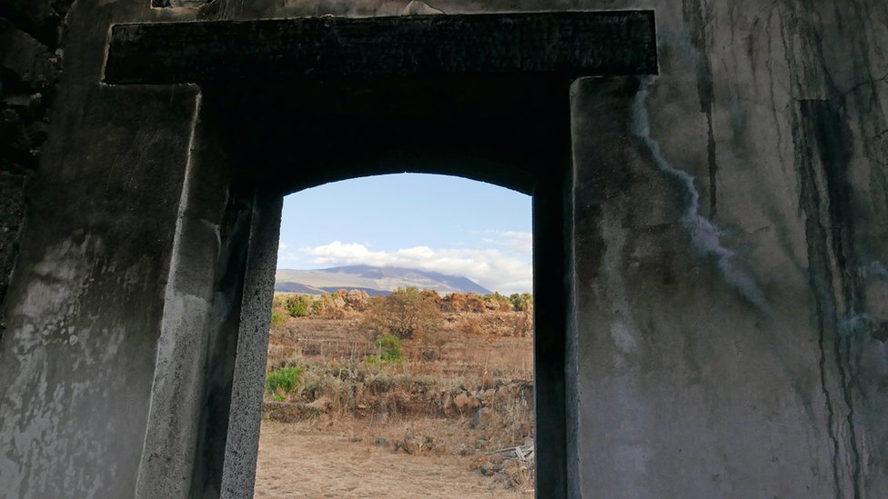 Mount Etna viewed from Sebastiano Blanco's burnt out house