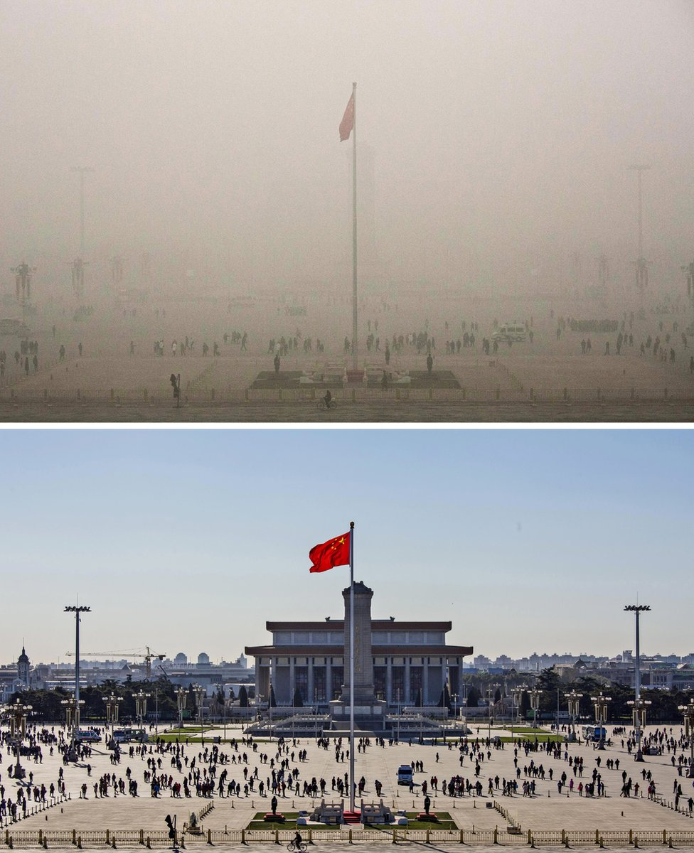 Top: Tiananmen Square is seen in heavy pollution, 1 December 2015 and 24 hours later under a clear sky on 2 December