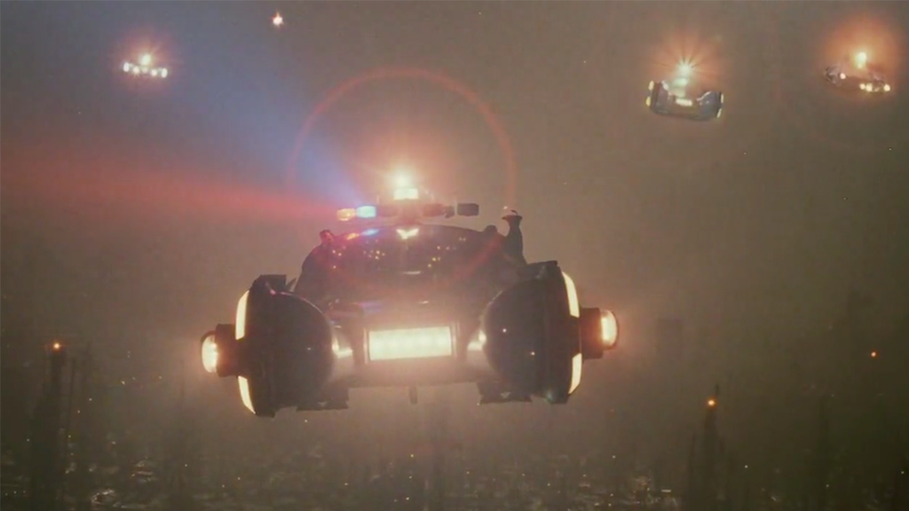 Flying cars in Blade Runner