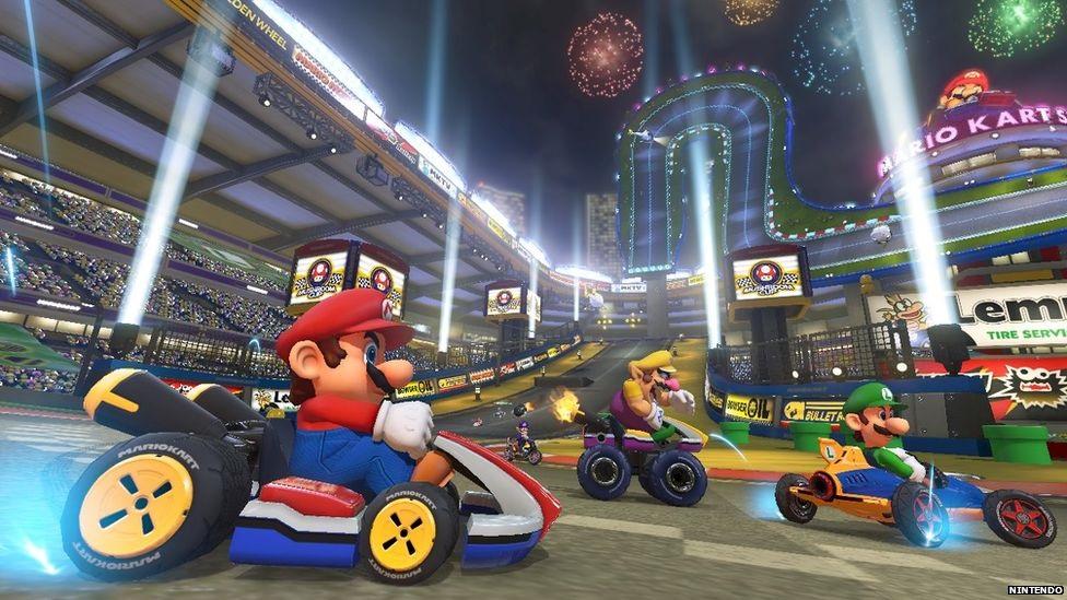 Screen shot of Mario Kart game