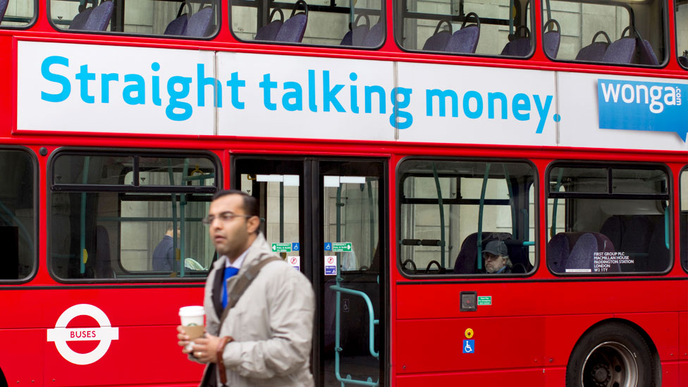 Wonga ad on side of bus
