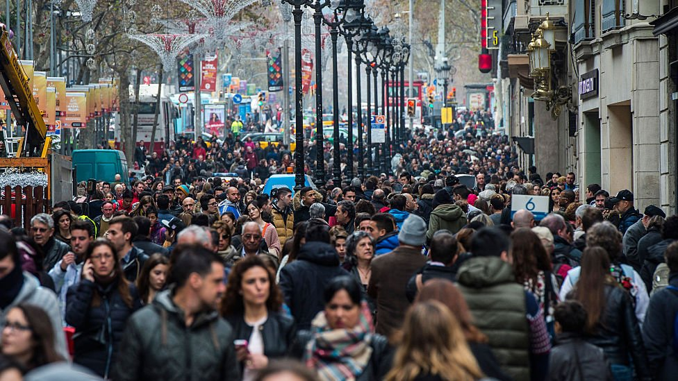 crowds in street