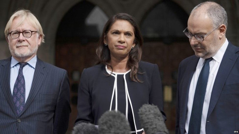 Gina Miller and lawyers outside the High Court