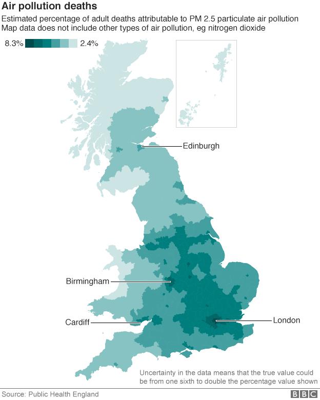 Air pollution deaths map