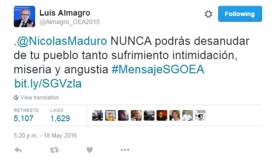 "Tweet by Luis Almagro reading: ""@NicolasMaduro will NEVER be able to undo so much suffering, intimidation, misery and anguish you've created for your people"""