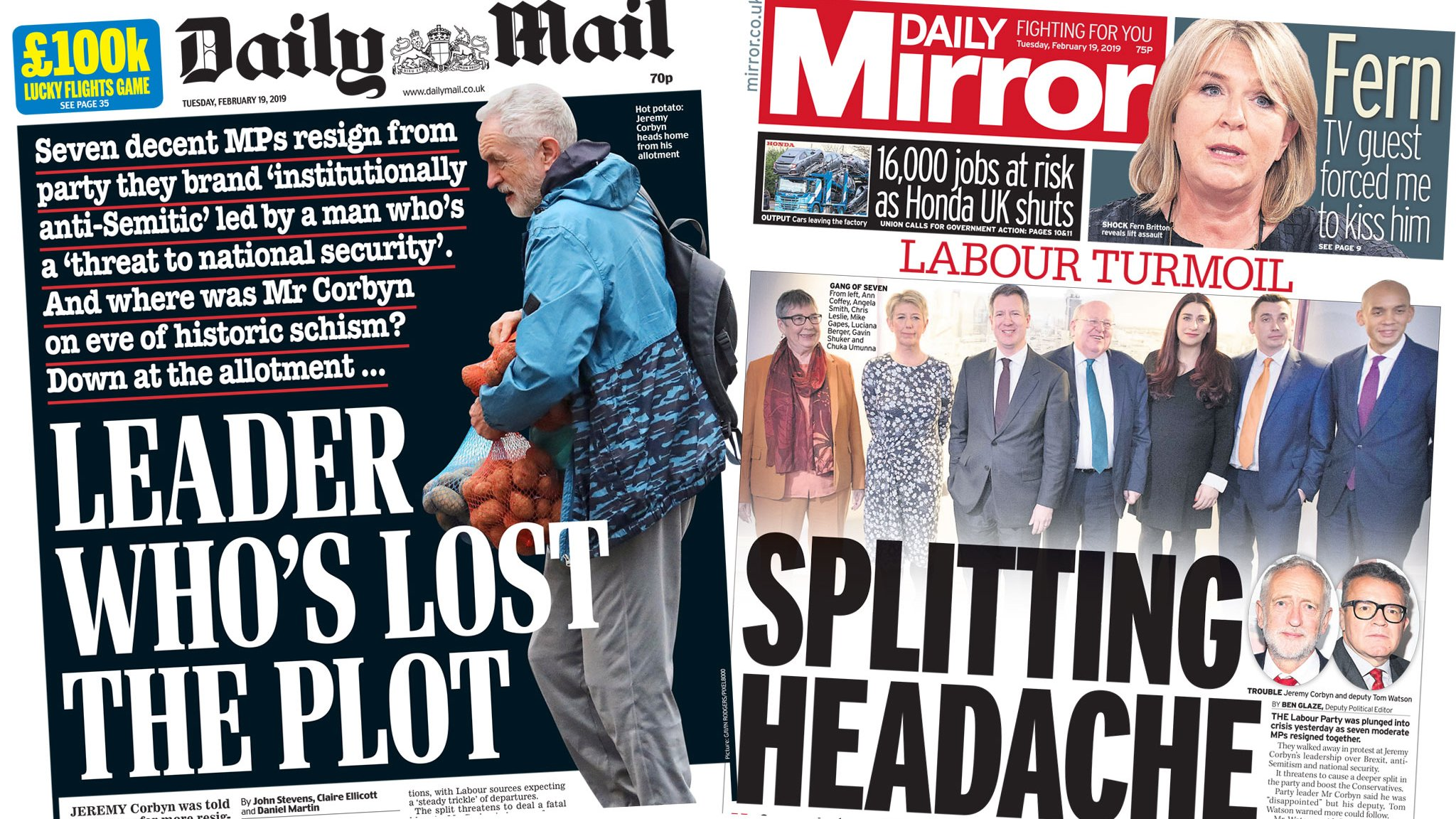 The Papers: 'Splitting headache' for Corbyn over exits