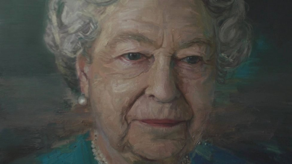 Close-up view of Colin Davidson's portrait of the Queen
