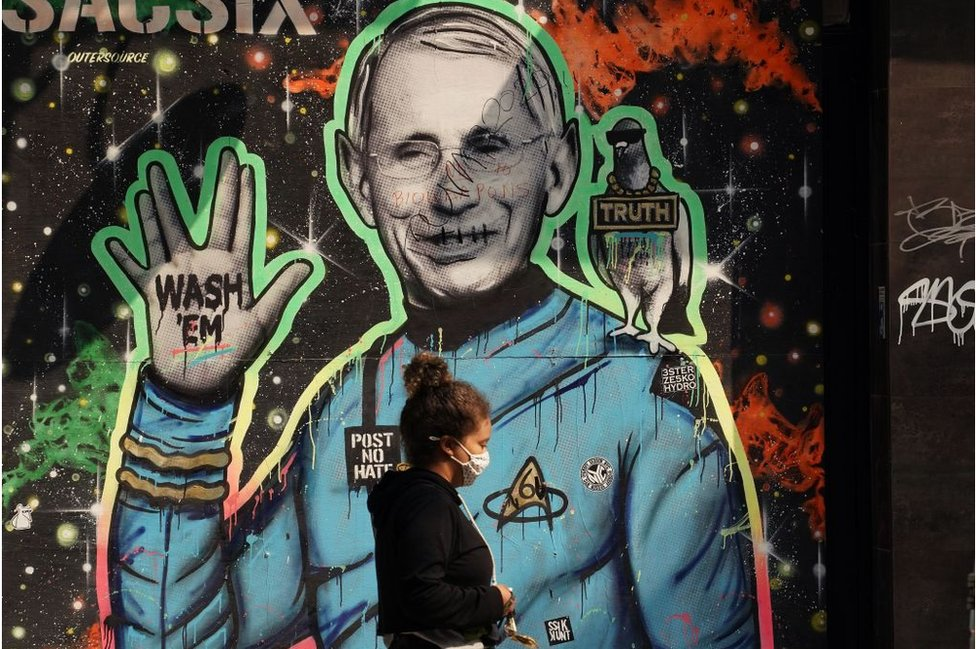 A mural of Dr Fauci, who has become a household name amid the pandemic