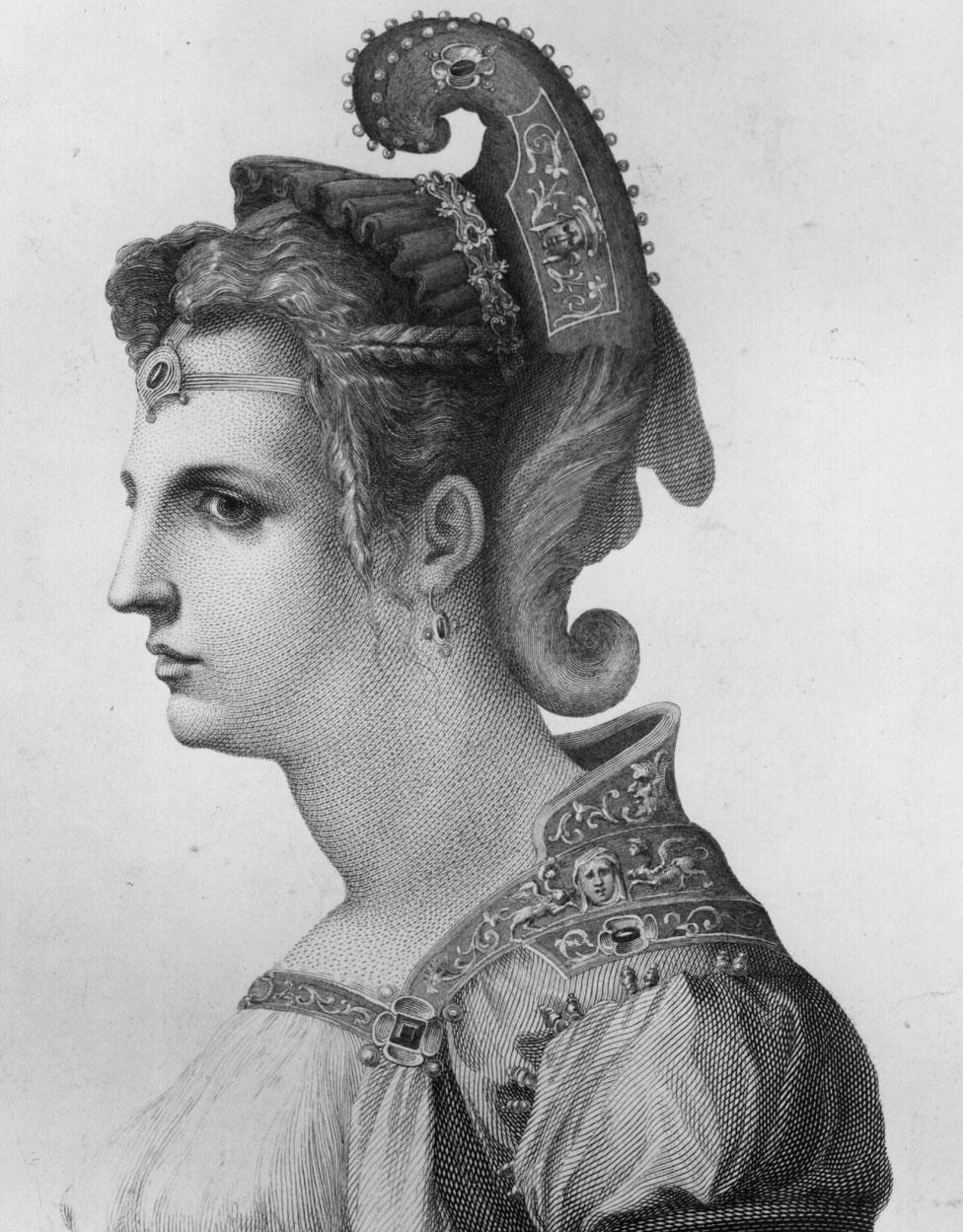 Retrato de Zenobia por el artista William Sharp, inspirado en un dibujo de Miguel Ángel