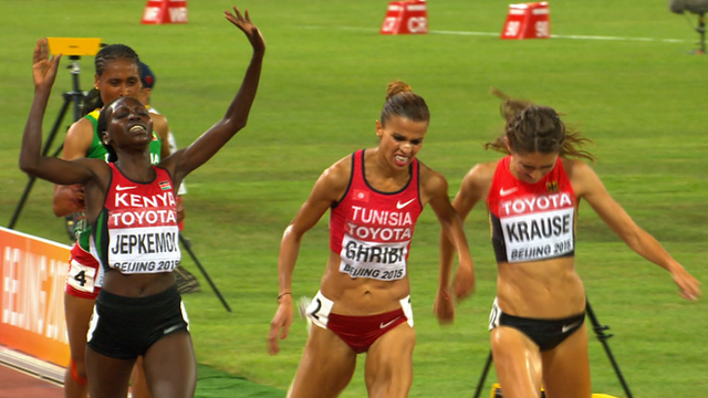 Jepkemoi crosses the line at the World Championships in Beijing.
