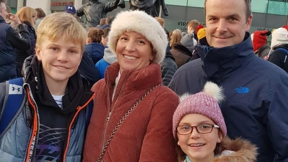 Anita Nicholson and her son Alex (left) with daughter Annabel and husband Ben (right)
