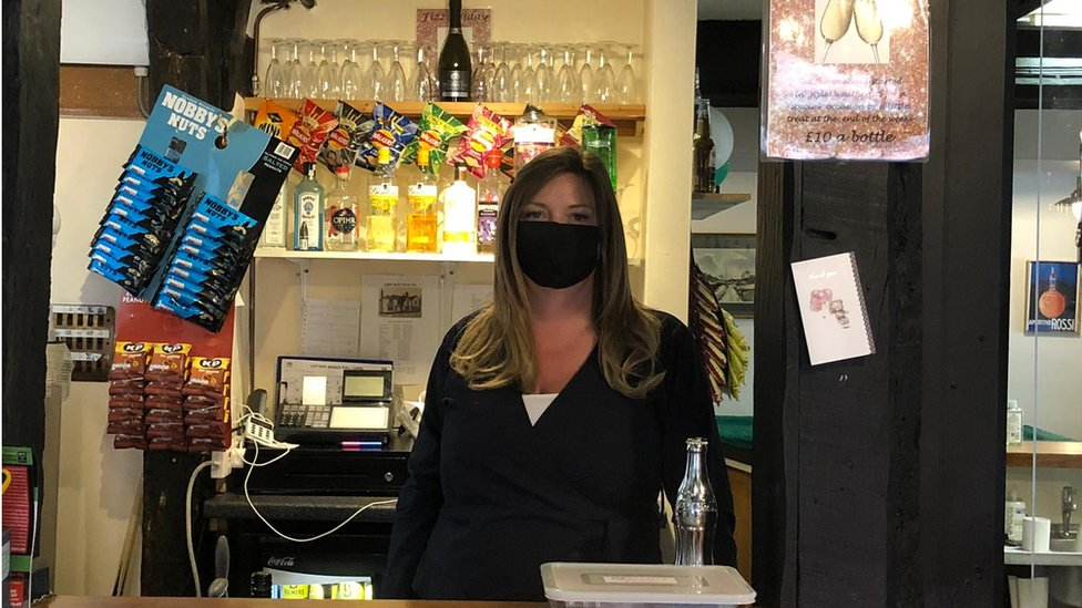 Melissa Baxter, manager of the Eight Bells pub, Hadleigh, Suffolk