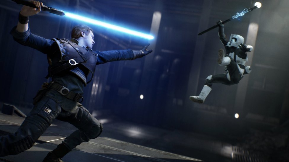 Image of a character in the game using a lightsaber