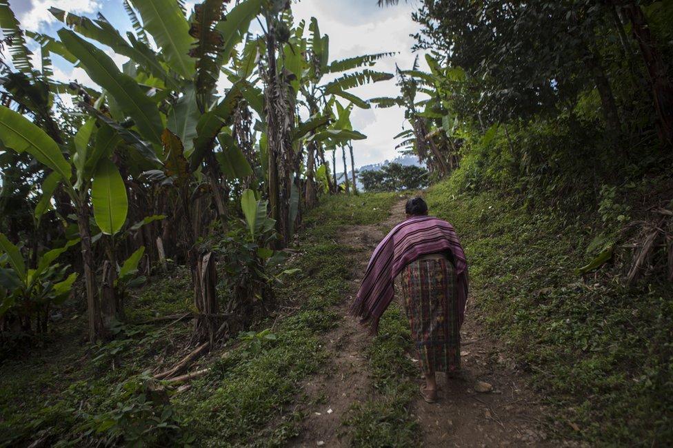 Catarina Mejía sube por un camino de tierra hacia su casa en Xeputul II, Guatemala