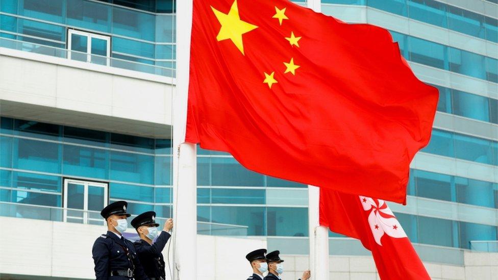 Chinese and Hong Kong flags