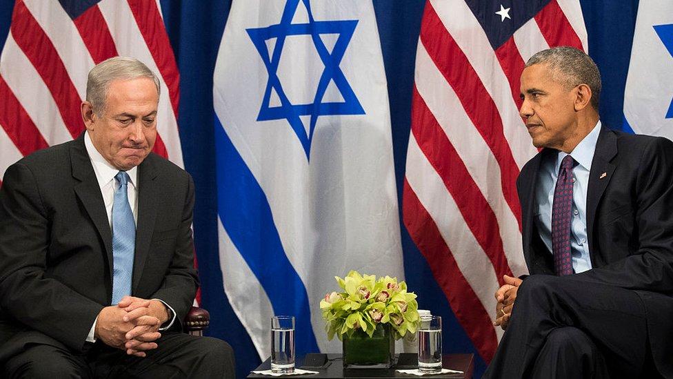 Prime Minister of Israel Benjamin Netanyahu speaks to President Barack Obama during a bilateral meeting in 2016