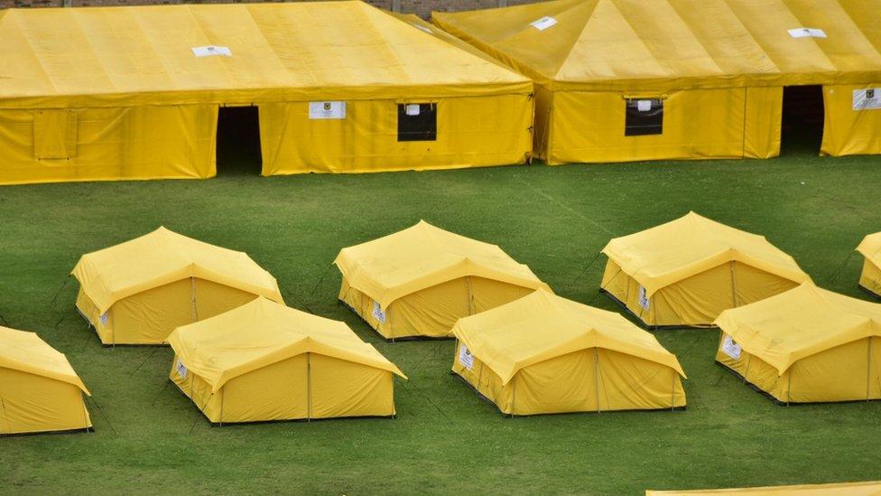 Tenda-tenda yang didirikan untuk menampung migran dari Venezuela