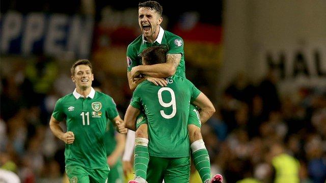 Republic striker Shane Long celebrates scoring against Germanay
