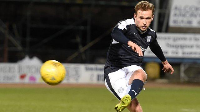 Greg Stewart scores for Dundee against Dumbarton