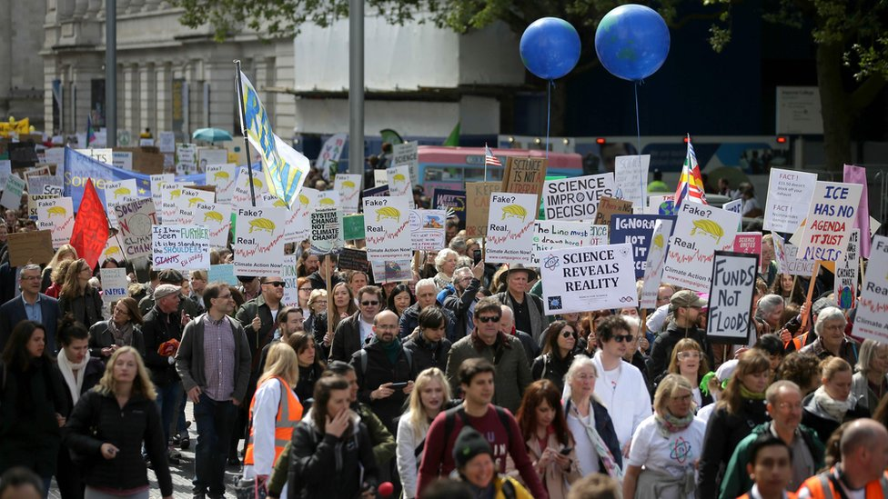 Scientists and science enthusiasts participate in the March for Science in central London, 22 April 2017