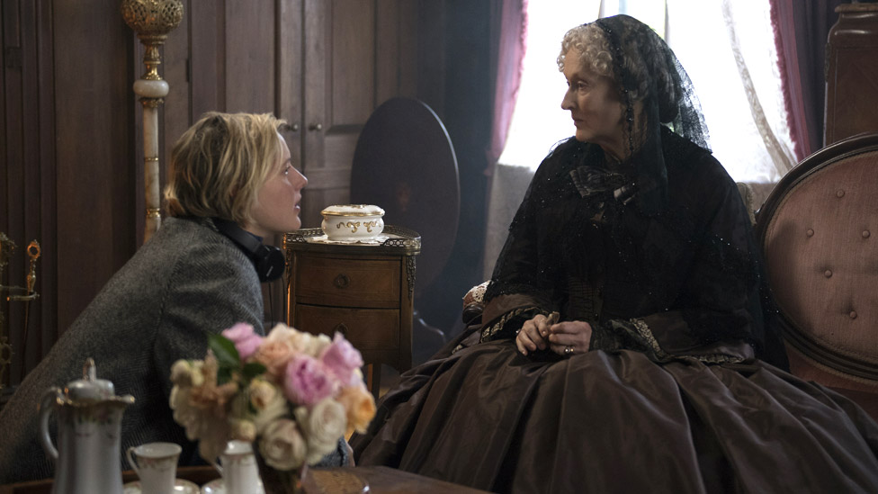 Greta Gerwig directing Meryl Streep in Little Women