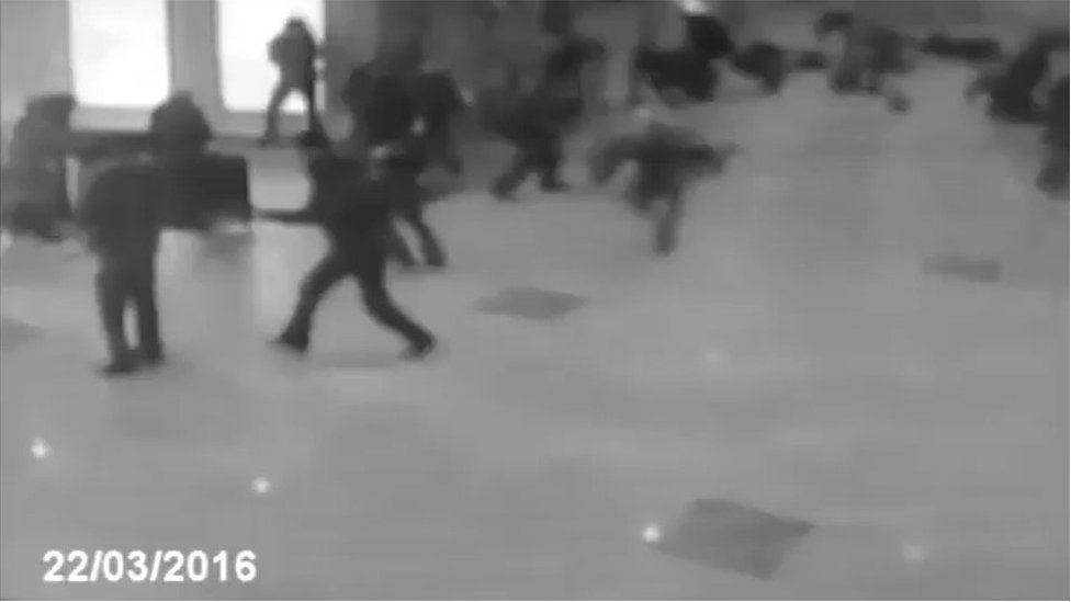 This still from a video shows a bomb explosion at Domodedovo airport in Russia in 2011, and is not a picture from Zaventem airport as some claimed on social media