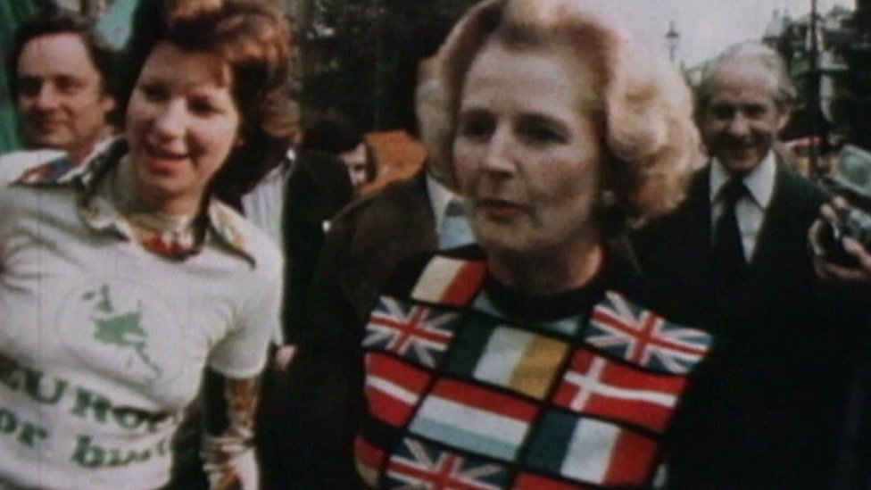 Margaret Thatcher, campaigning as Conservative Party leader in 1975, in a Europe jumper