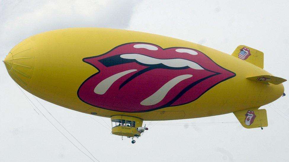 Rolling Stones logo on blimp