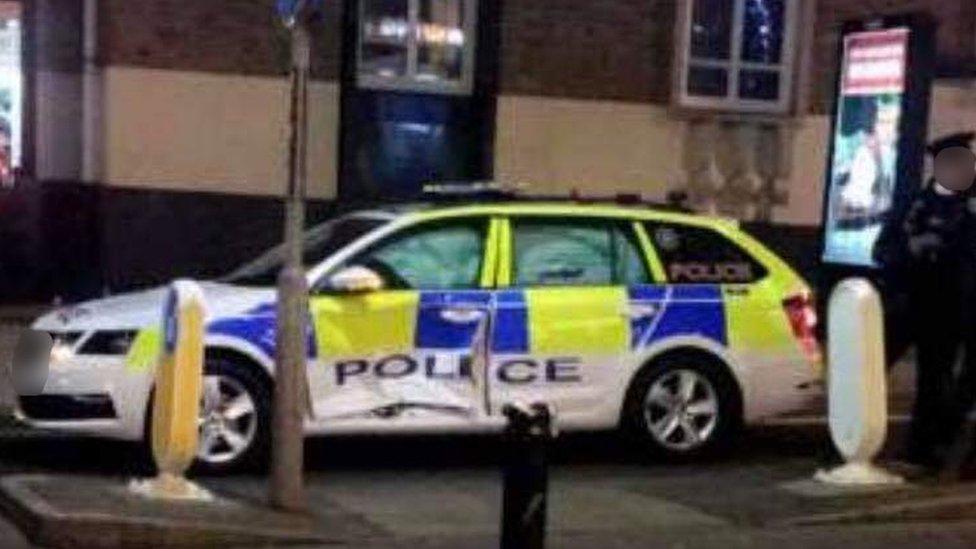 police car damaged