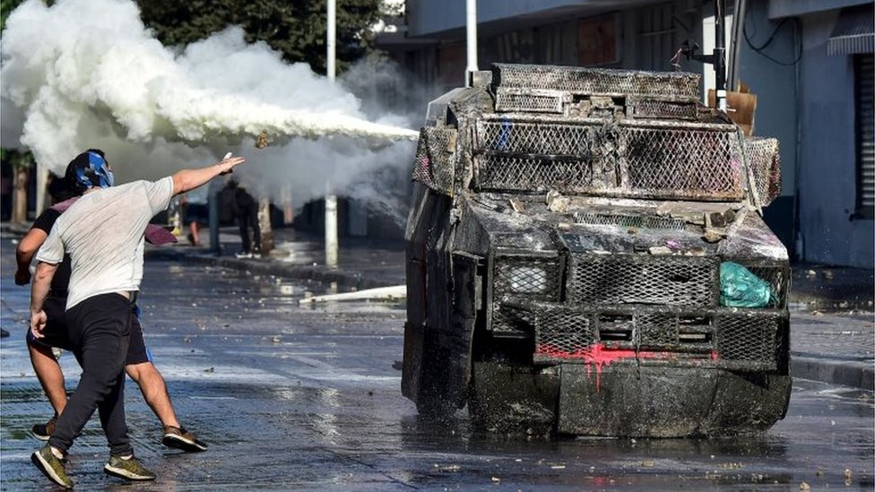Demonstrators clash with police on 23 February, 2020,
