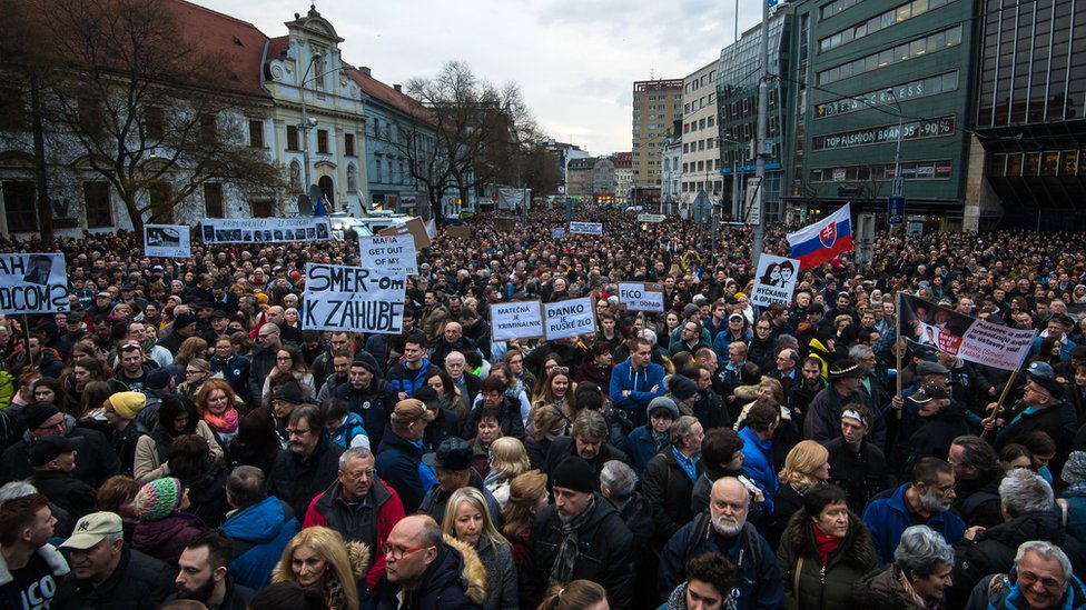 Rally to commemorate Kuciak and fiancée, 21 Feb 19