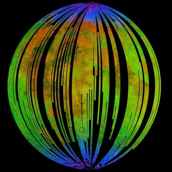 Imagen del los espectros de minerales de la superficie lunar.