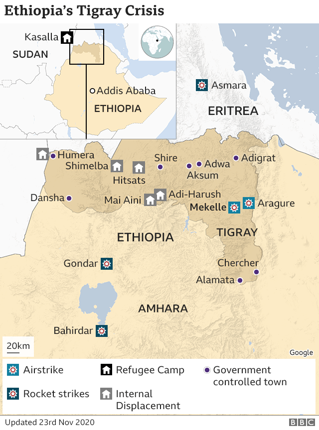 Ethiopia's Tigray crisis: Regional capital Mekelle 'under heavy fire' thumbnail