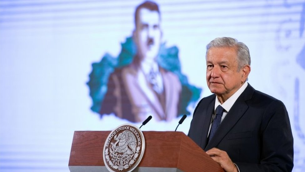 A handout photo made available by the Mexican Presidency shows President Andres Manuel Lopez Obrador during his morning press conference at the National Palace in Mexico City, Mexico, 19 October 2020.