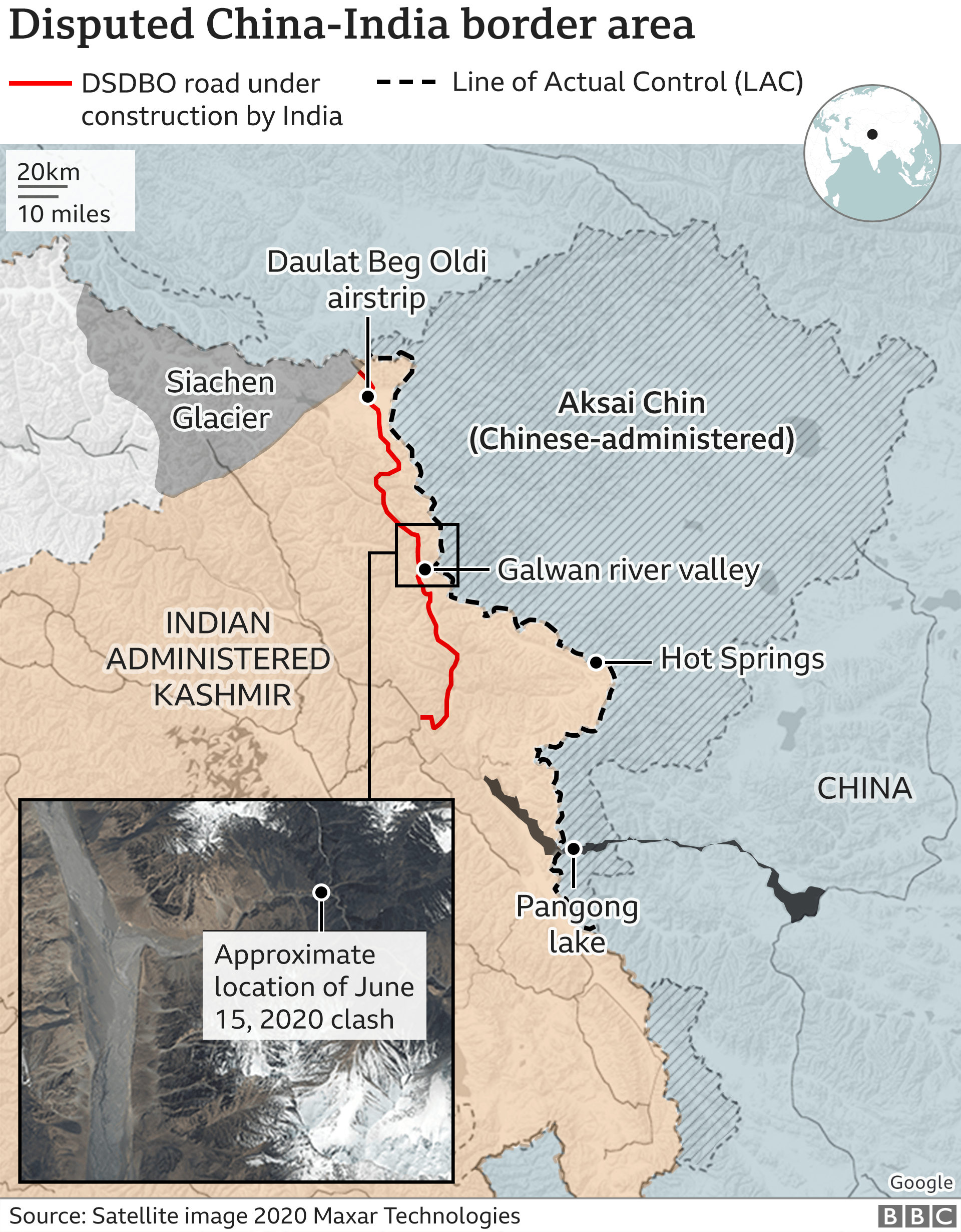 Disputed China-India border map