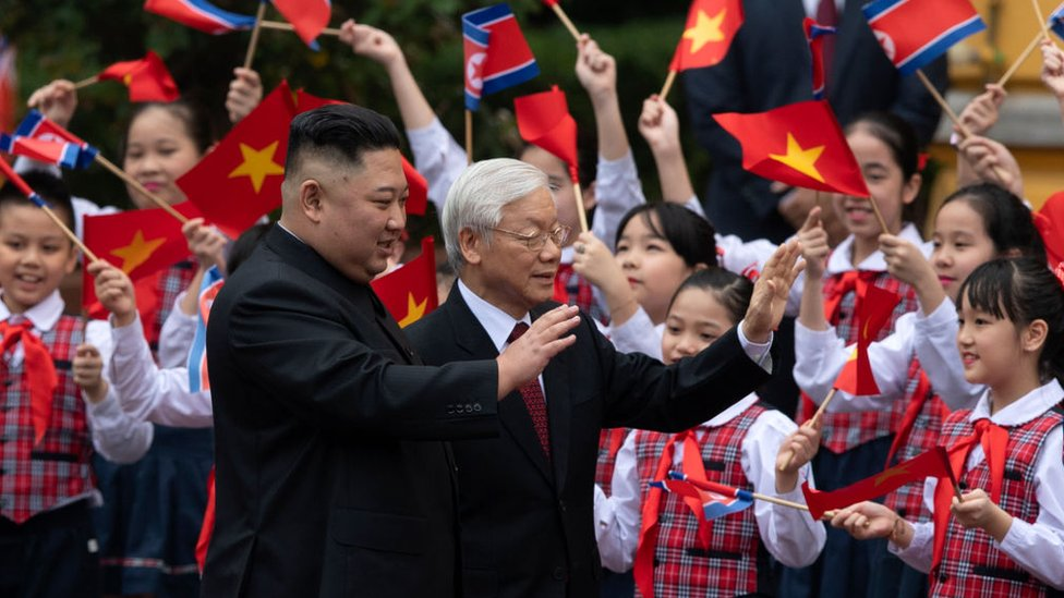 Nguyen Phu Trong during the welcome ceremony for the North Korean leader, Kim Jong-un