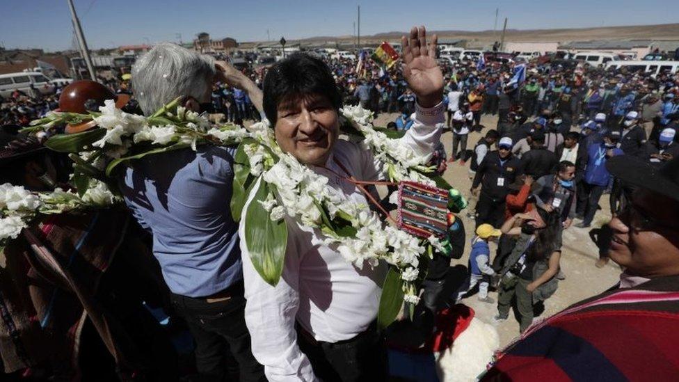 Evo Morales en su viaje de regreso a Bolivia