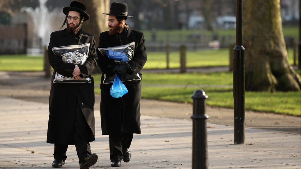 Jewish people in street