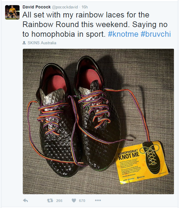 """A tweet from David Pocock reads: """"All set with my rainbow laces for the Rainbow Round this weekend. Saying no to homophobia in sport. #knotme #bruvchi"""""""