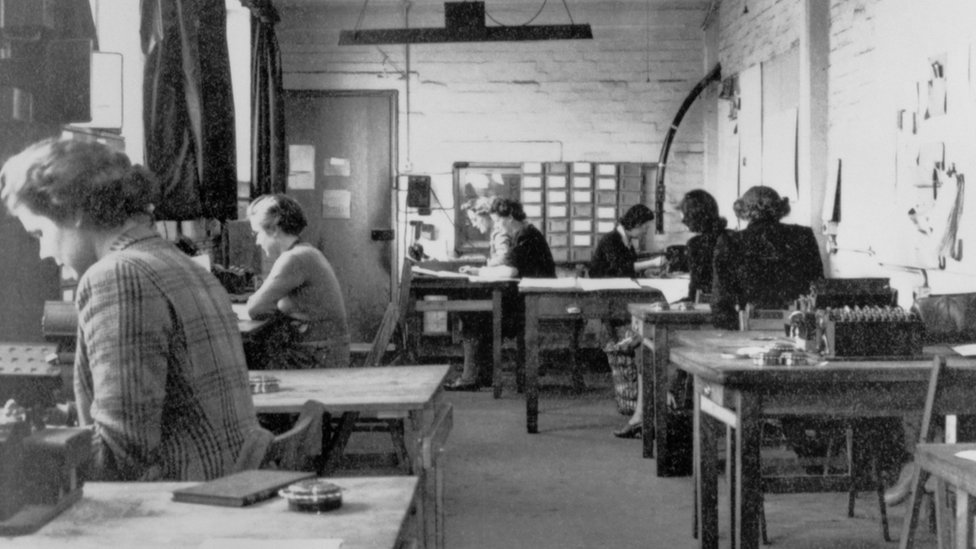 The machine room in hut 6 of Bletchley Park, Buckinghamshire, the British forces' intelligence centre during WWII