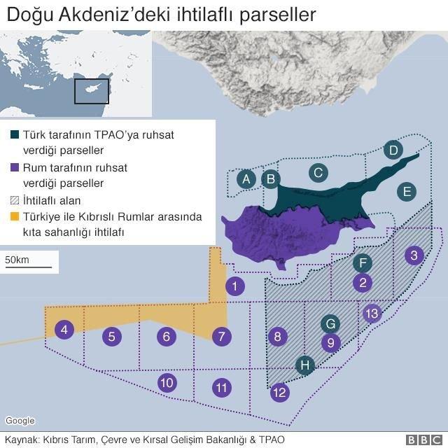 Doğu Akdeniz doğalgaz parsel haritası