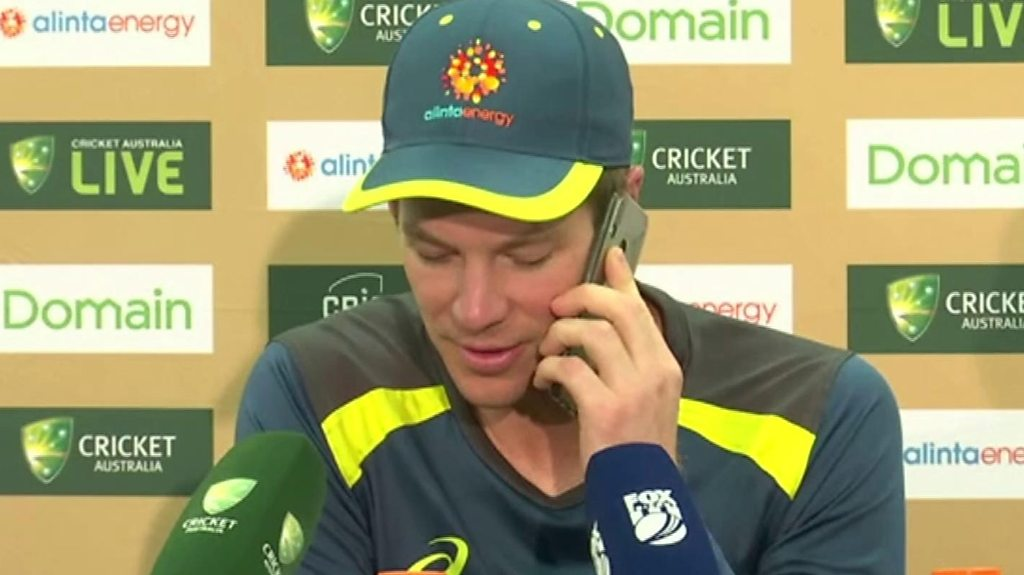 Tim Paine: Australia captain answers reporter's phone during news conference