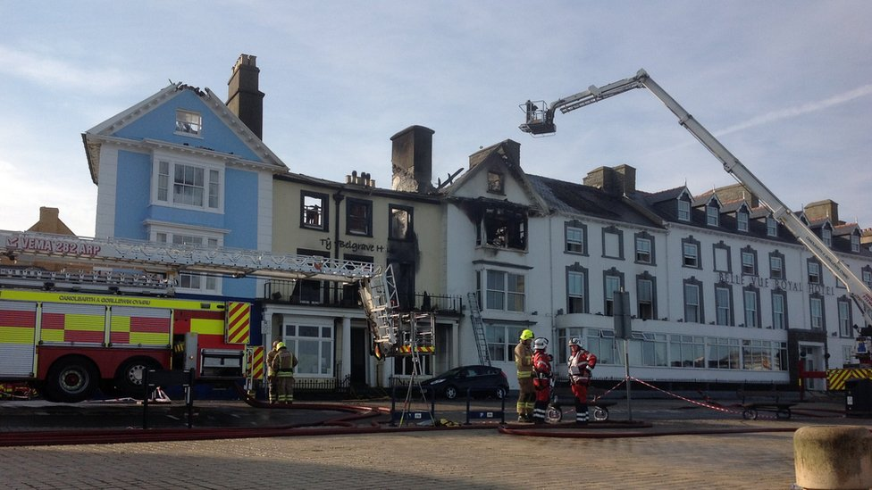 Burnt out hotel in the morning