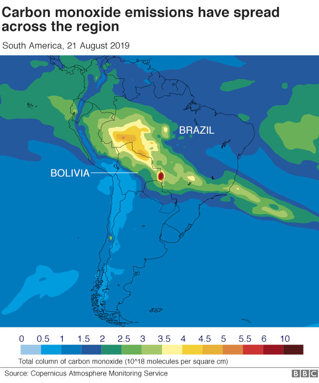 Map showing carbon monoxide emissions over the Amazon