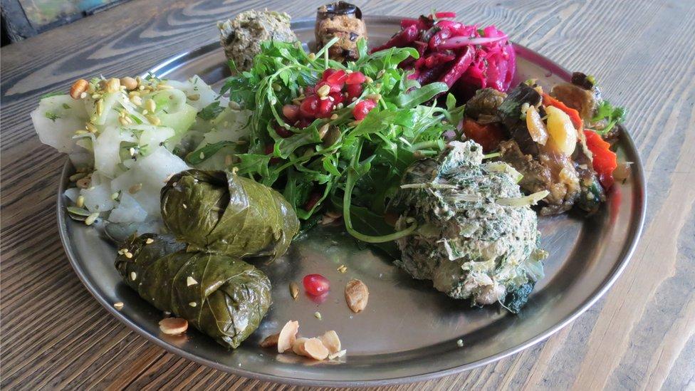 Plate of vegan appetisers