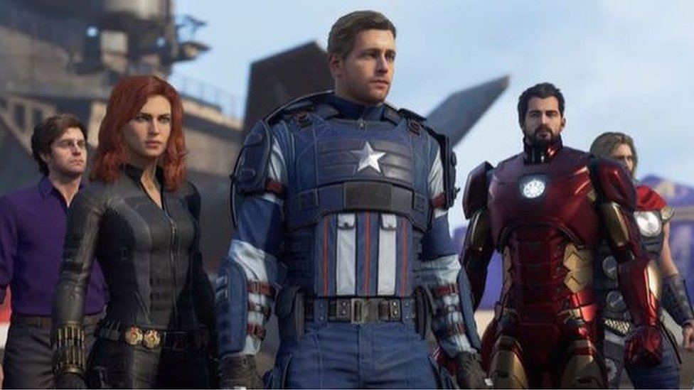 A screenshot of the in-production Avengers game shows the characters of Bruce Banner, Black Widow, Captain America, Iron Man, and Thor